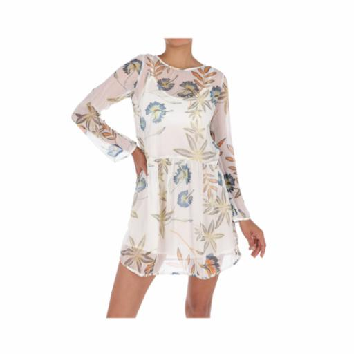 Vestido Roxy Amazing Wave Marshmallow Bird Flower