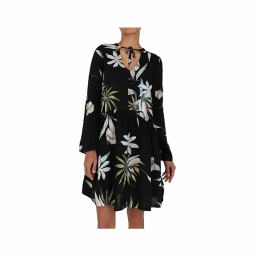 Vestido Roxy Lombock Waterfall True Black Delicate Flower